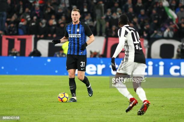Milan Skriniar during the Serie A football match between Juventus FC and FC Internazionale at Allianz Stadium on 09 December 2017 in Turin Italy The...