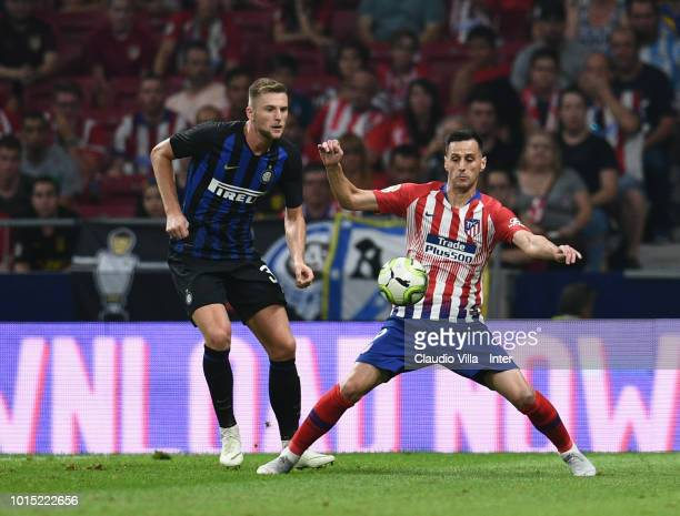 Milan Skriniar of FC Internazionale and Nikola Kalinic of Atletico Madrid compete for the ball during the International Champions Cup 2018 match...