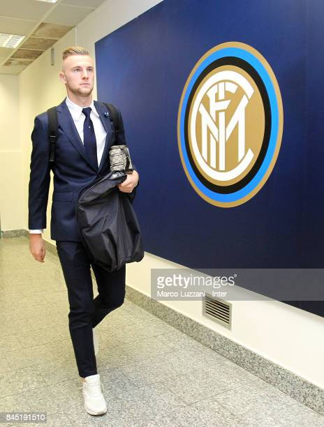 Milan Skriniar of FC Internazionale arrives prior to the Serie A match between FC Internazionale and Spal at Stadio Giuseppe Meazza on September 10...