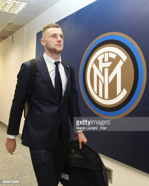 Milan Skriniar of FC Internazionale arrives prior to the Serie A match between FC Internazionale and Udinese Calcio at Stadio Giuseppe Meazza on...