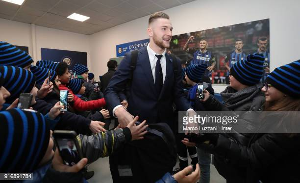 Milan Skriniar of FC Internazionale arrives prior to the serie A match between FC Internazionale and Bologna FC at Stadio Giuseppe Meazza on February...