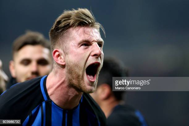 Milan Skriniar of FC Internazionale celebrate after scoring a goal during the Serie A match between FC Internazionale and Benevento Calcio Fc...
