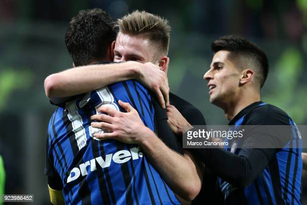 Milan Skriniar of FC Internazionale celebrate with his teammate Andrea Ranocchia after scoring a goal during the Serie A match between FC...