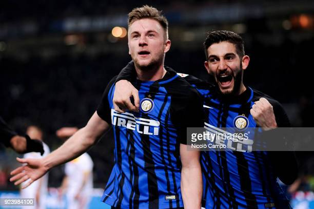 Milan Skriniar of FC Internazionale celebrates after scoring a goal during the Serie A football match between FC Internazionale and Benevento Calcio...