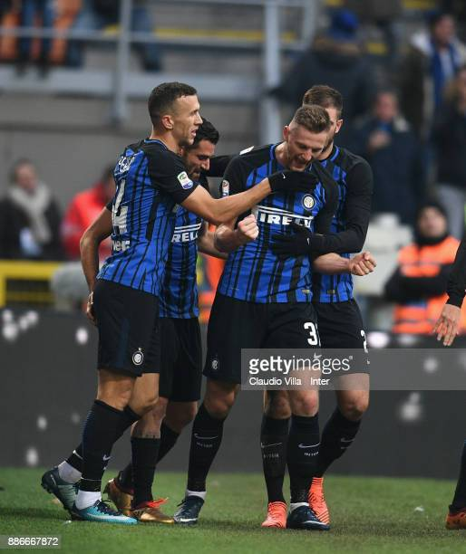 Milan Skriniar of FC Internazionale celebrates after scoring the fourth goal during the Serie A match between FC Internazionale and AC Chievo Verona...