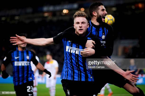 Milan Skriniar of FC Internazionale celebrates after scoring the opening goal during the Serie A football match between FC Internazionale and...
