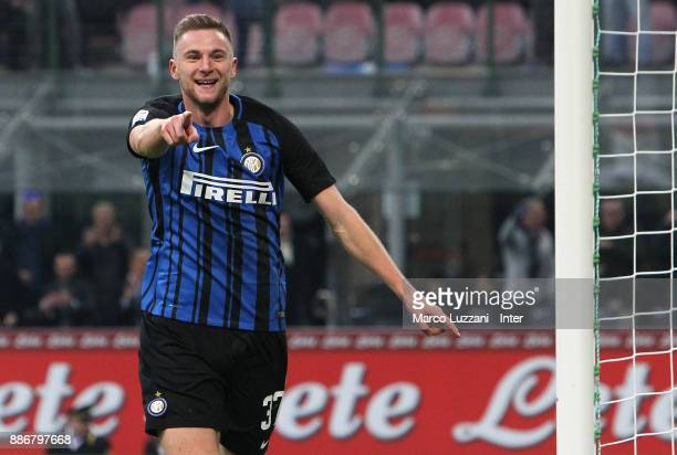 Milan Skriniar of FC Internazionale celebrates his goal during the Serie A match between FC Internazionale and AC Chievo Verona at Stadio Giuseppe...