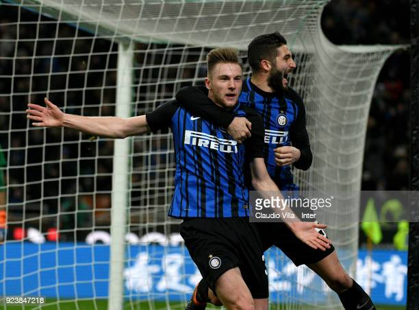 Milan Skriniar of FC Internazionale celebrates with Roberto Gagliardini after scoring the opening goal during the serie A match between FC...