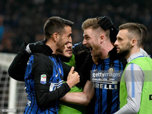 Milan Skriniar of FC Internazionale celebrates with teammates after scoring the opening goal during the serie A match between FC Internazionale and...