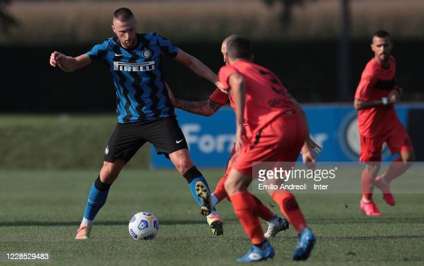 Milan Skriniar of FC Internazionale competes for the ball during the PreSeason Friendly match between FC Internazionale and Lugano at the club's...
