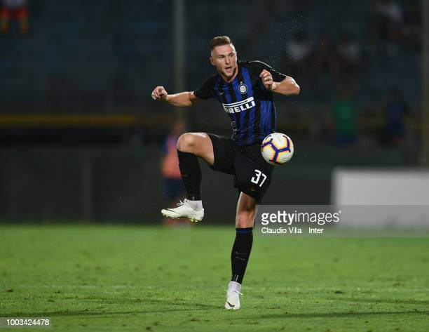 Milan Skriniar of FC Internazionale controls the ball during the preseason match between FC Internazionale and FC Zenit Saint Petersburg at Arena...