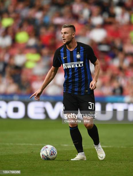 Milan Skriniar of FC Internazionale controls the ball during the preseason friendly match between Sheffield United and FC Internazionale at Bramall...