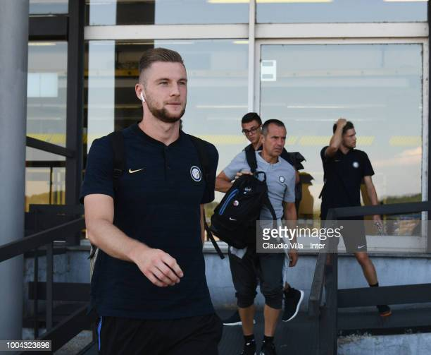 Milan Skriniar of FC Internazionale departs to Sheffield at Malpensa Airport on July 23 2018 in Milan Italy