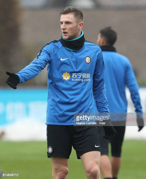 Milan Skriniar of FC Internazionale gestures during the FC Internazionale training session at the club's training ground Suning Training Center in...