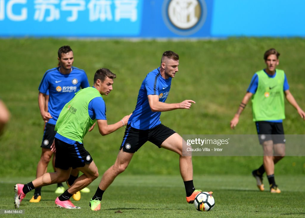 Milan Skriniar of FC Internazionale in action during a training session at Suning Training Center at Appiano Gentile on September 13, 2017 in Como, Italy.