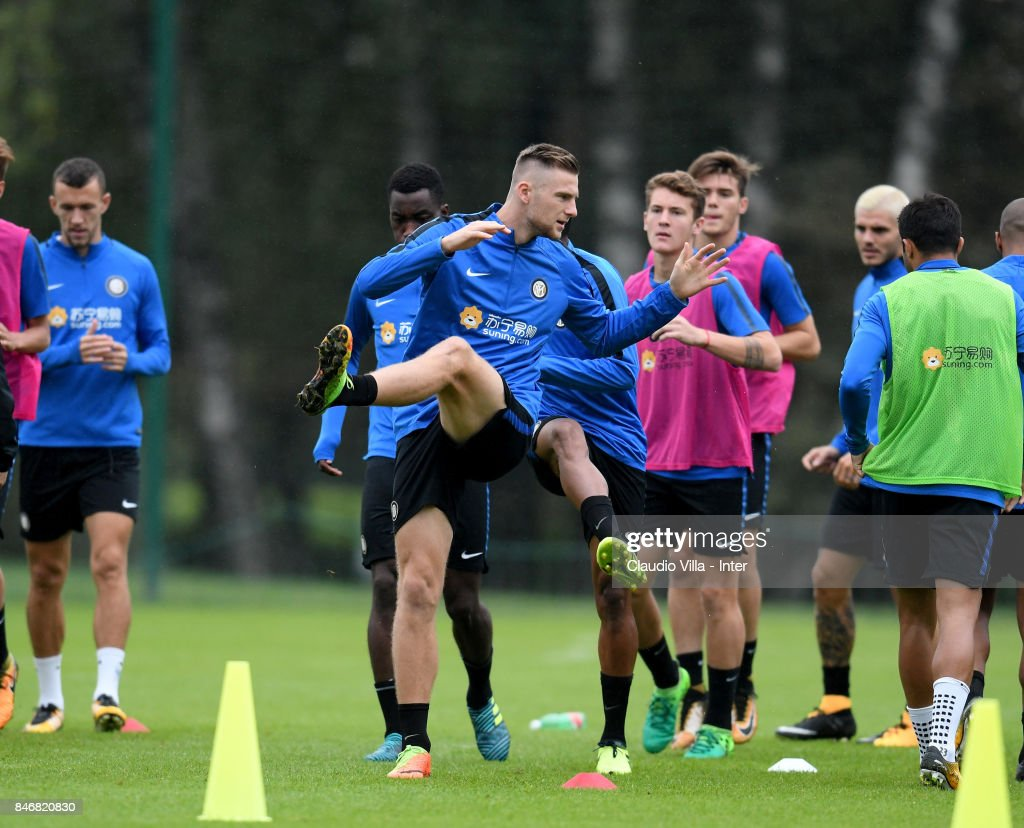 Milan Skriniar of FC Internazionale (C) in action during a training session at Suning Training Center at Appiano Gentile on September 14, 2017 in Como, Italy.