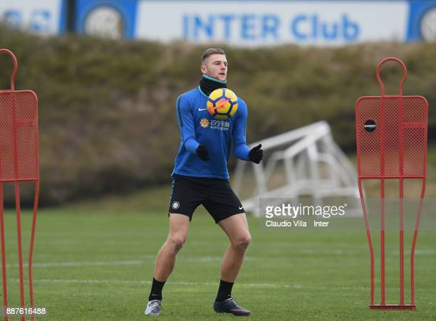 Milan Skriniar of FC Internazionale in action during an FC Internazionale training session at Suning Training Center at Appiano Gentile on December 7...