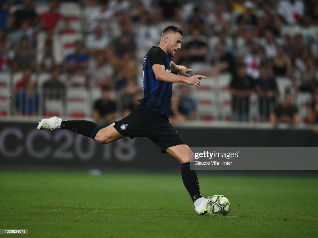 Milan Skriniar of FC Internazionale in action during the International Champions Cup 2018 match between Chelsea and FC Internazionale played at Allianz Riviera Stadium on July 28, 2018 in Nice, France.