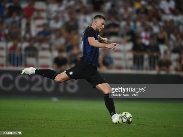 Milan Skriniar of FC Internazionale in action during the International Champions Cup 2018 match between Chelsea and FC Internazionale played at...