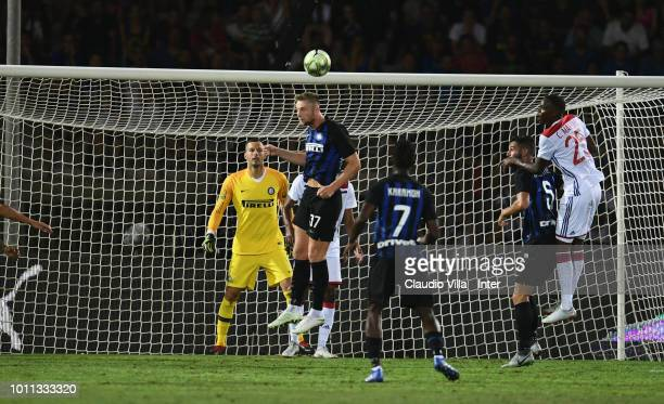 Milan Skriniar of FC Internazionale in action during the International Champions Cup 2018 match between FC Internazionale and Olympique Lyonnais at...