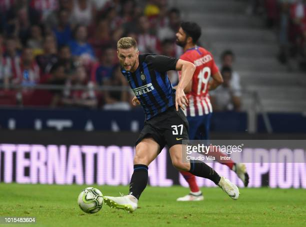 Milan Skriniar of FC Internazionale in action during the International Champions Cup 2018 match between Atletico Madrid and FC Internazionale at...