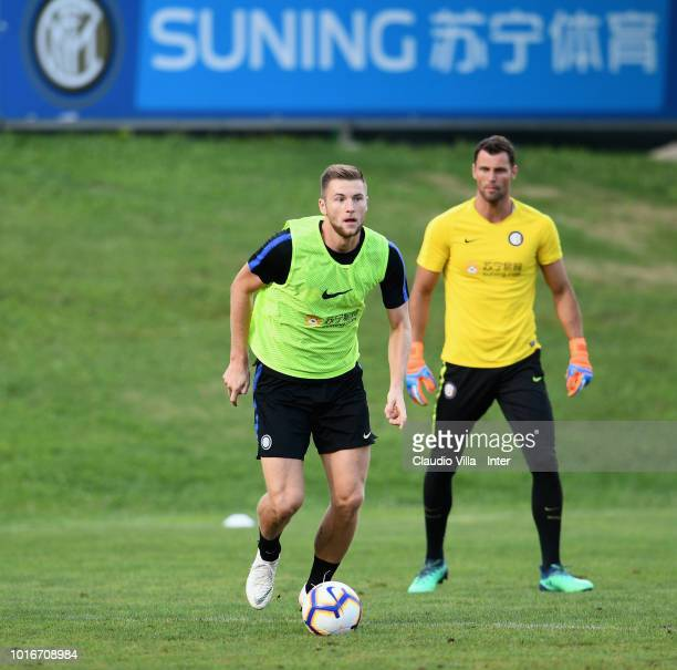 Milan Skriniar of FC Internazionale in action during the FC Internazionale training session at the club's training ground Suning Training Center in...