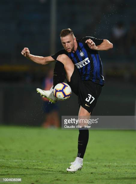 Milan Skriniar of FC Internazionale in action during the preseason match between FC Internazionale and FC Zenit Saint Petersburg at Arena Garibaldi...