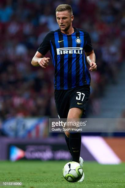 Milan Skriniar of FC Internazionale in action during the PreSeason Friendly match between Atletico de Madrid and FC Internazionale at Wanda...