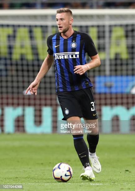 Milan Skriniar of FC Internazionale in action during the serie A match between FC Internazionale and Torino FC at Stadio Giuseppe Meazza on August 26...