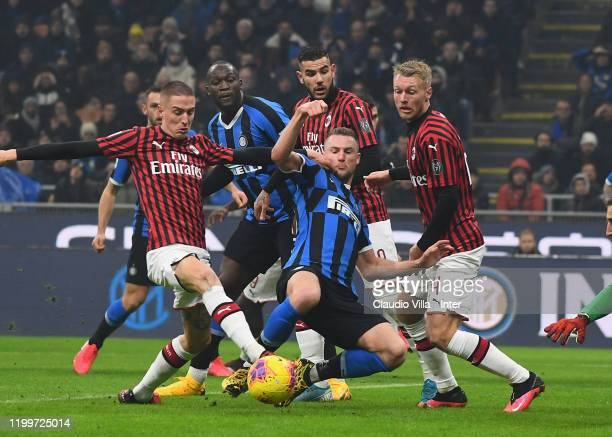 Milan Skriniar of FC Internazionale in action during the Serie A match between FC Internazionale and AC Milan at Stadio Giuseppe Meazza on February 9...