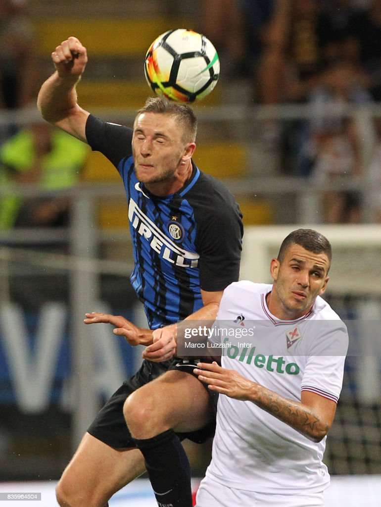 Milan Skriniar of FC Internazionale in action during the Serie A match between FC Internazionale and ACF Fiorentina at Stadio Giuseppe Meazza on August 20, 2017 in Milan, Italy.