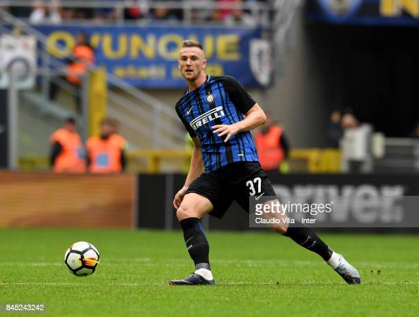 Milan Skriniar of FC Internazionale in action during the Serie A match between FC Internazionale and Spal at Stadio Giuseppe Meazza on September 10...