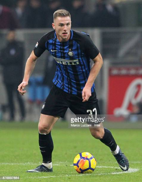 Milan Skriniar of FC Internazionale in action during the Serie A match between FC Internazionale and Atalanta BC at Stadio Giuseppe Meazza on...