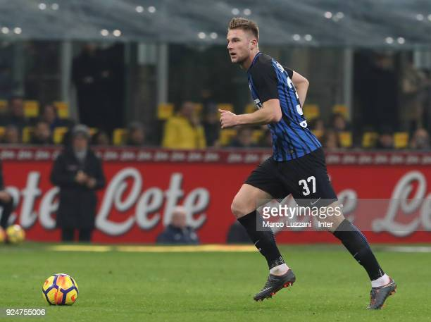 Milan Skriniar of FC Internazionale in action during the serie A match between FC Internazionale and Benevento Calcio at Stadio Giuseppe Meazza on...