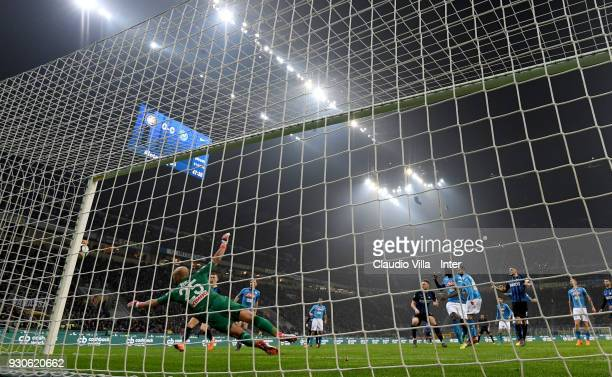 Milan Skriniar of FC Internazionale in action during the serie A match between FC Internazionale and SSC Napoli at Stadio Giuseppe Meazza on March 11...