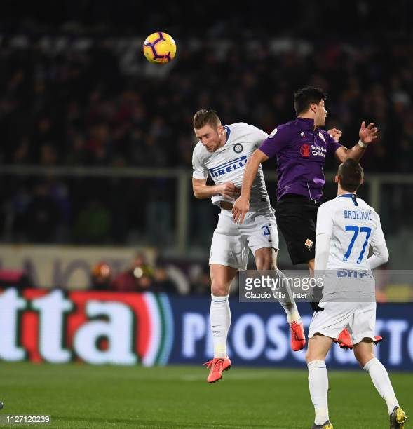 Milan Skriniar of FC Internazionale in action during the Serie A match between ACF Fiorentina and FC Internazionale at Stadio Artemio Franchi on...