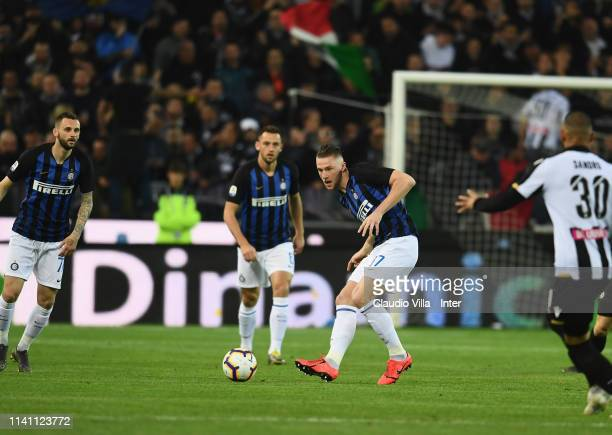 Milan Skriniar of FC Internazionale in action during the Serie A match between Udinese and FC Internazionale at Stadio Friuli on May 4, 2019 in...