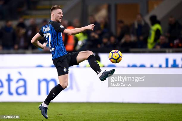 Milan Skriniar of FC Internazionale in action during the Serie A football match between FC Internazionale and AS Roma The match ended in a 11 tie