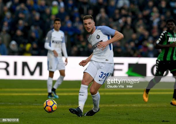 Milan Skriniar of FC Internazionale in action during the serie A match between US Sassuolo and FC Internazionale at Mapei Stadium Citta' del...