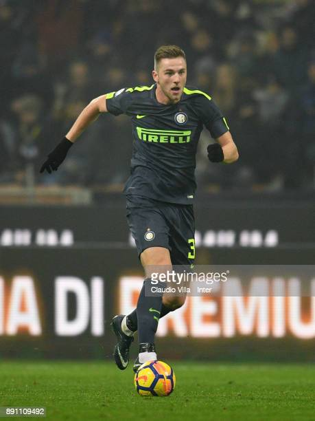 Milan Skriniar of FC Internazionale in action during the TIM Cup match between FC Internazionale and Pordenone at Stadio Giuseppe Meazza on December...