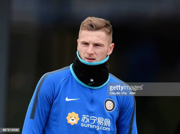 Milan Skriniar of FC Internazionale looks on during an FC Internazionale training session at Suning Training Center at Appiano Gentile on December 7...