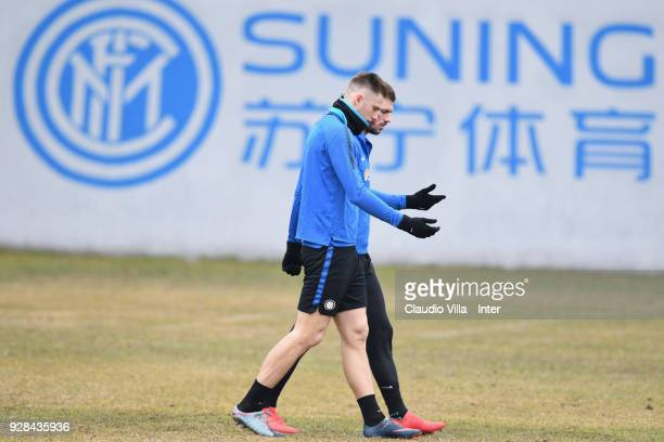 Milan Skriniar of FC Internazionale looks on during the FC Internazionale training session at the club's training ground Suning Training Center in...