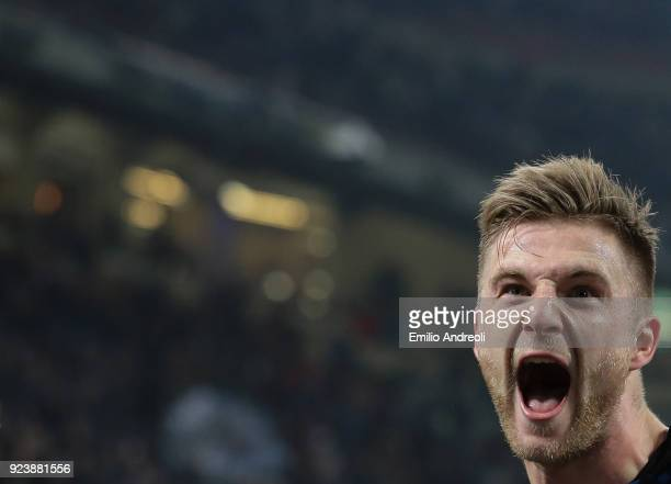 Milan Skriniar of FC Internazionale Milano celebrates after scoring the opening goal during the serie A match between FC Internazionale and Benevento...
