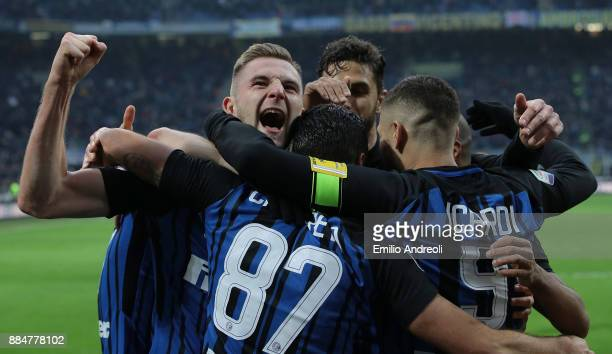 Milan Skriniar of FC Internazionale Milano celebrates his goal with his teammates during the Serie A match between FC Internazionale and AC Chievo...