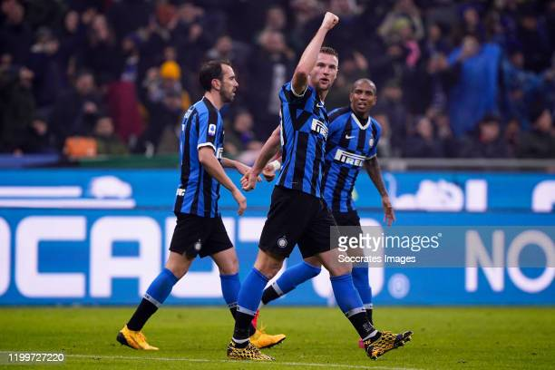 Milan Skriniar of FC Internazionale Milano celebrates the 32 during the Italian Serie A match between Internazionale v AC Milan at the San Siro on...