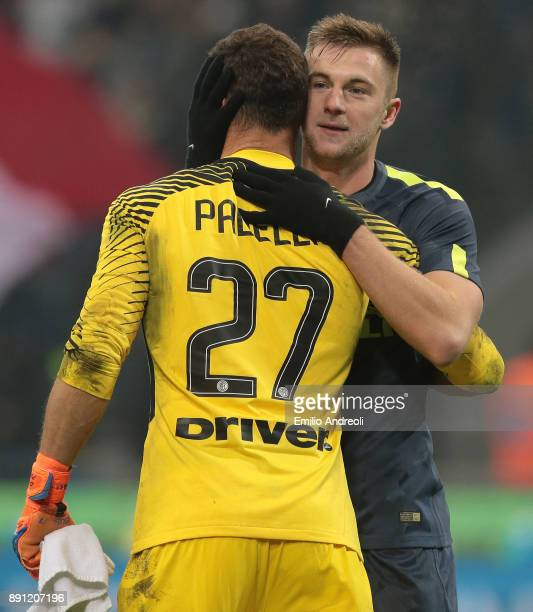 Milan Skriniar of FC Internazionale Milano celebrates the victory with his teammate Daniele Padelli at the end of the TIM Cup match between FC...