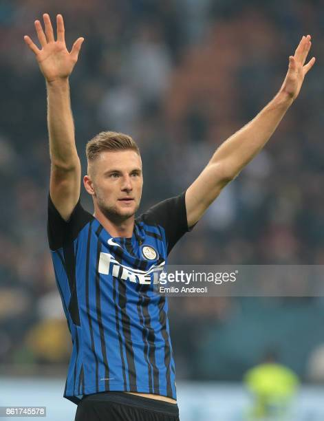 Milan Skriniar of FC Internazionale Milano gestures during the Serie A match between FC Internazionale and AC Milan at Stadio Giuseppe Meazza on...