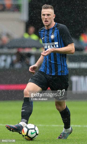 Milan Skriniar of FC Internazionale Milano in action during the Serie A match between FC Internazionale and Spal at Stadio Giuseppe Meazza on...