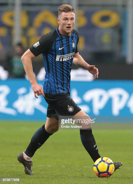 Milan Skriniar of FC Internazionale Milano in action during the serie A match between FC Internazionale and Benevento Calcio at Stadio Giuseppe...