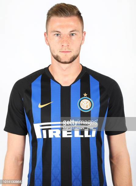 Milan Skriniar of FC Internazionale poses with the club shirt during the FC Internazionale training session at the club's training ground Suning...